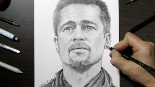 Portrait Drawing Brad Pitt with Pencils