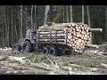 Logging with Valtra A93 forestry tractor, large trailer