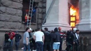 Citizens Save Pro-Russian Separatists From Burning Trade Union Building In Odessa, May 2 2014