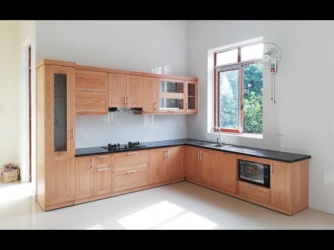 Mẫu tủ bếp gỗ sồi mỹ phun sơn trần nhà chị Đào – Ba Hàng, Thái Nguyên | Nội thất Hpro
