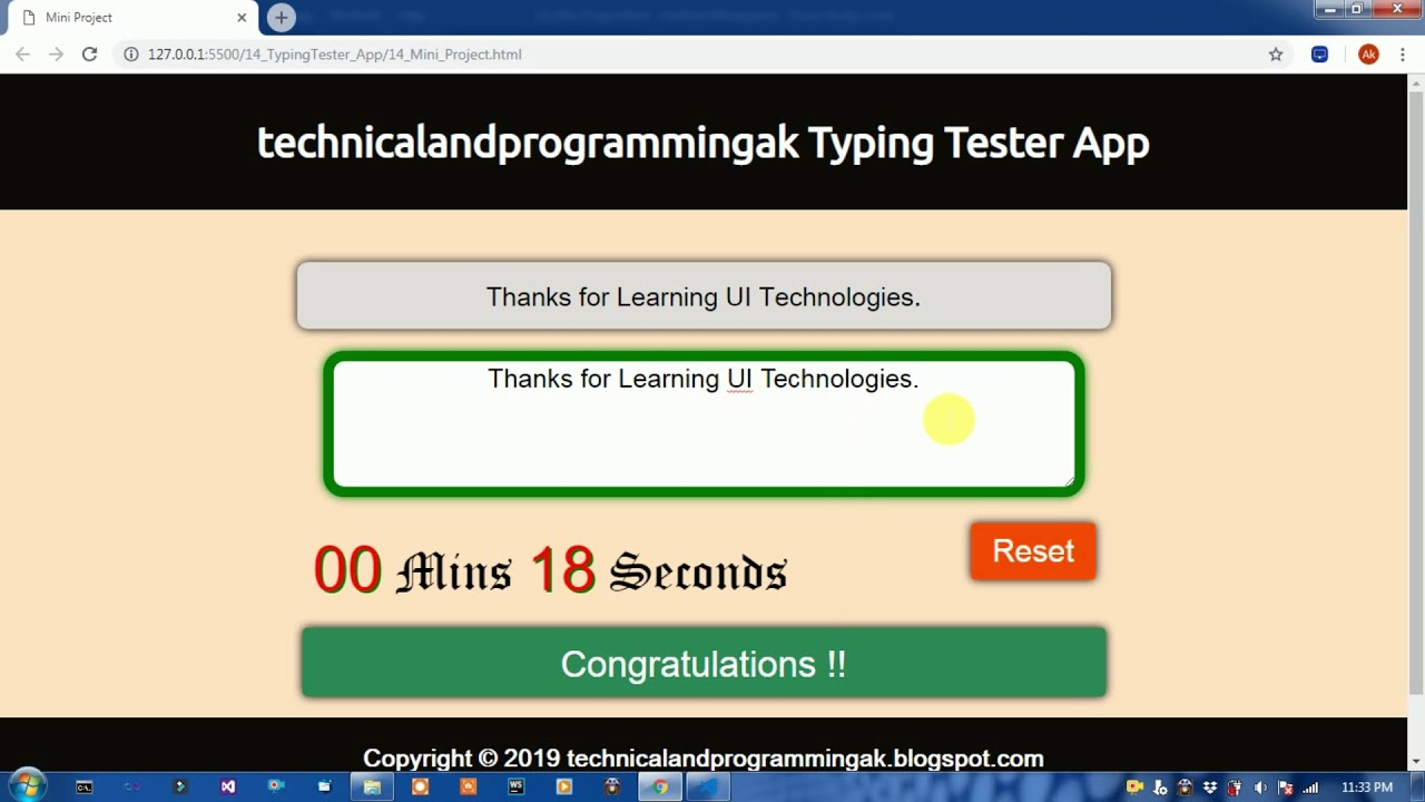 typing tester application in javascript with source code || javascript  projects with source code