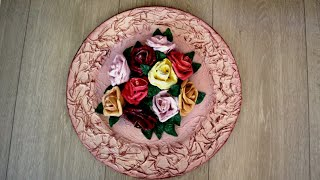 DIY from a plastic plate with plaster flowers | How to make artificial flowers with  plaster