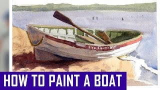 How to Paint a Boat in Watercolor - Watercolor Painting Process (Watercolor Corner #15)
