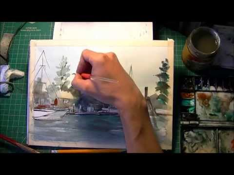 "Painting ""In the Port"" Watercolor Landscape"