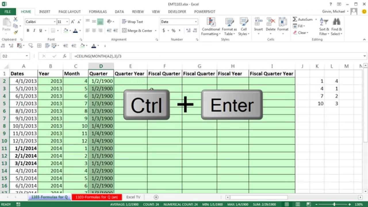 Excel Magic Trick 20 Formulas for Quarters, Fiscal Quarters & Fiscal  Years