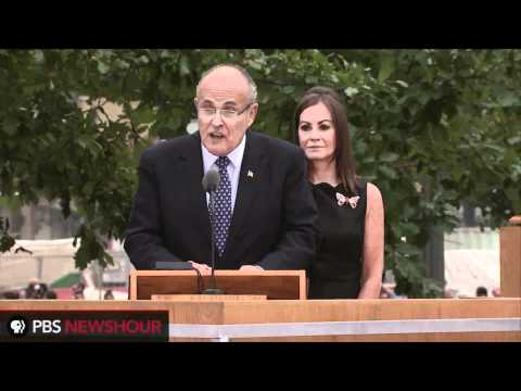 Former New York Mayor Rudolph W. Giuliani delivers reading at Ground Zero on 9/11 Anniversary