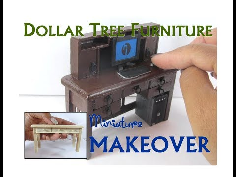 Dollar Tree to Luxury Miniature Furniture Makeover DIY Mission Desk with Hutch
