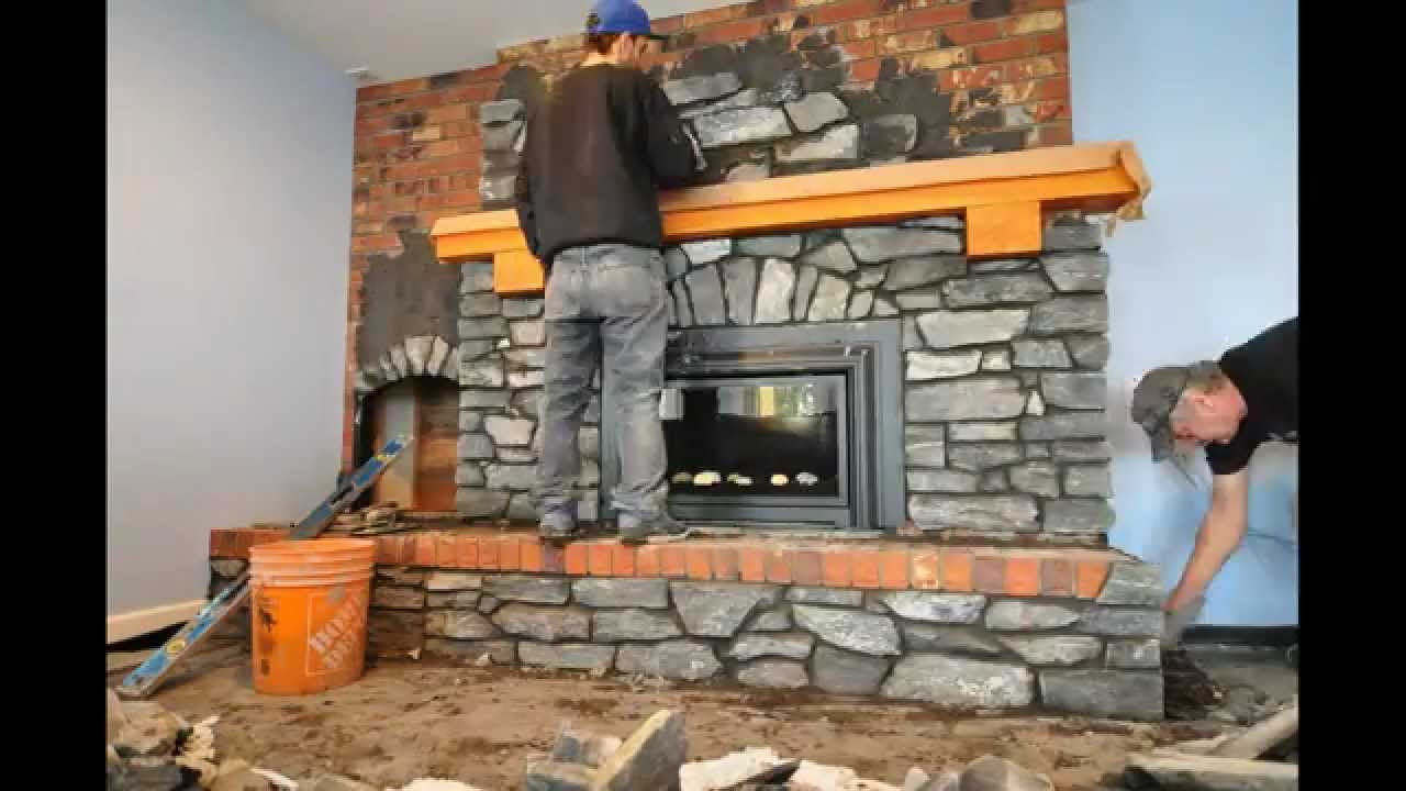Covering an existing brick fireplace and hearth with natural stone. Stone sourced from Okanagan Rock World and the work is done by R & K Masonry.