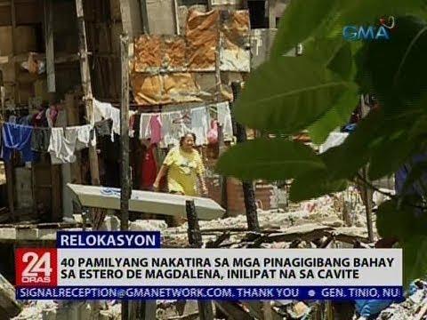 Pamilyang nakatira sa mga pinagigibang bahay sa Estero de Magdalena, inilipat na sa Cavite