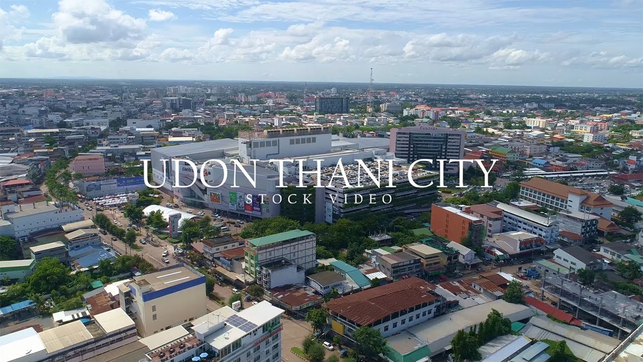 drone shot of udon thani city area sample stock video. Black Bedroom Furniture Sets. Home Design Ideas