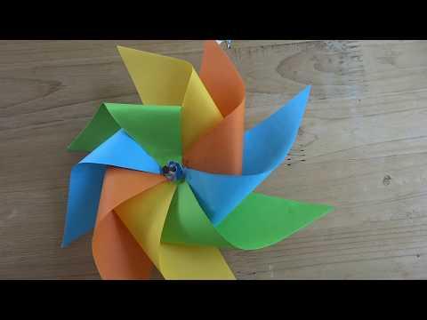 如何制作纸张风车DIY    (HOW TO MAKE PAPER WINDMILL DIY)