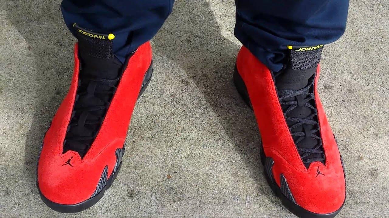 reputable site 04067 6b3e6 Air Jordan Retro 14 (XIV) 'Ferrari' Red Suede on Foot