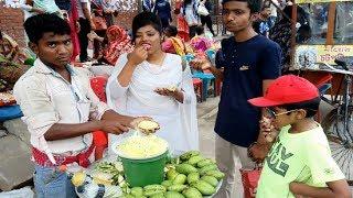 Green Mango kacha Aam Vorta recipe Summer tasty fruits masala Aam spicy mix Aam vorta street food BD