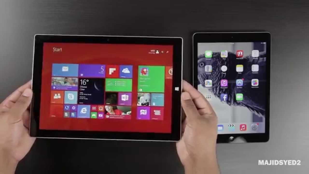 microsoft surface 3 vs ipad air youtube