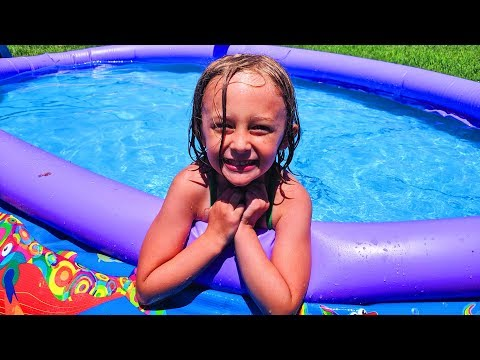 Chloe and Isaac Playing Pretend with Summer Outdoor Play Toys for Kids in a Swimming Pool