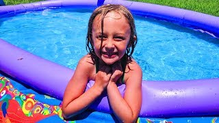 Chloe And  Saac Playing Pretend With Summer Outdoor Play Toys For Kids In A Swimming Pool