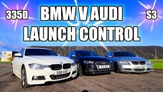 BMW 335D V AUDI S3 WITH LAUNCH CONTROL! *FAST AF*