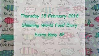 Slimming World SP Food Diary Thursday 15 February 2018