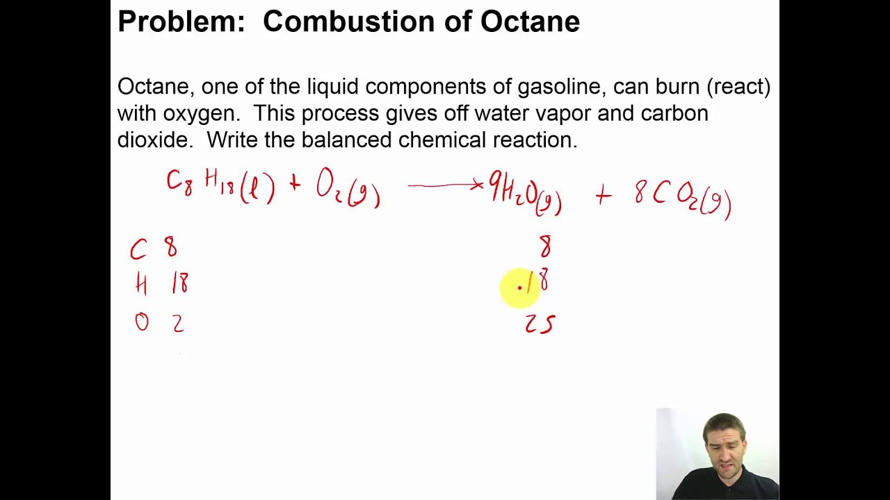 Balanced Equation For The Reaction Of Octane With Oxygen