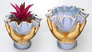 How to make beautiful cement pot at home easily // cement flower vase