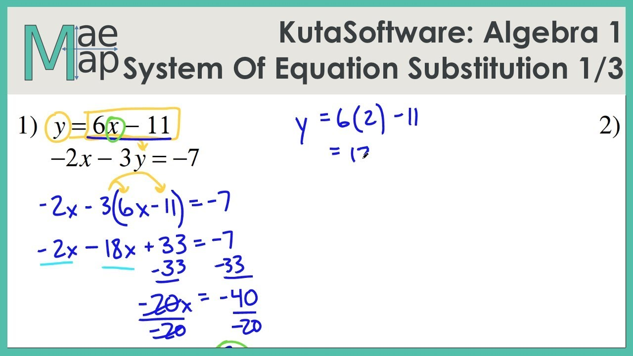 hight resolution of KutaSoftware: Algebra 1- System Of Equations Substitution Part 1 - YouTube