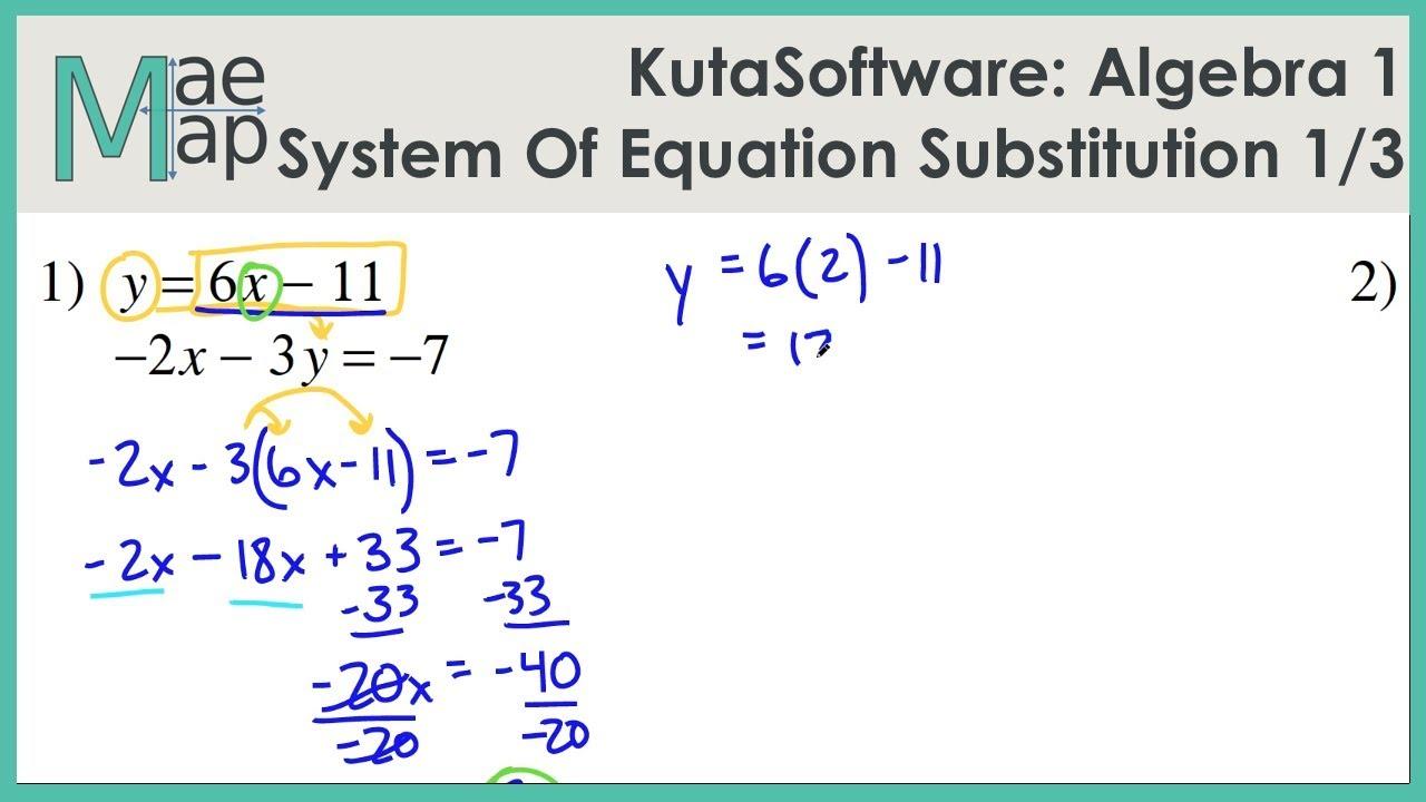 medium resolution of KutaSoftware: Algebra 1- System Of Equations Substitution Part 1 - YouTube