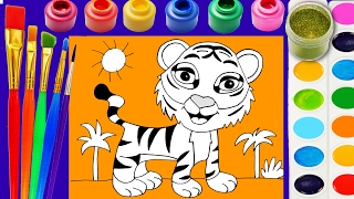 Tiger Coloring Page Cute Animals  to color with Watercolors and Glitter Paint for Kids to Learn