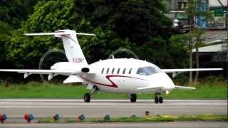 Piaggio P-180 Avanti I B-23061 Take off at TSA RWY 10