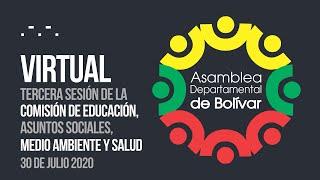Tercera Sesión Comisión de Educación, Asuntos Sociales, Medio Ambiente y Salud - 30 Julio 2020