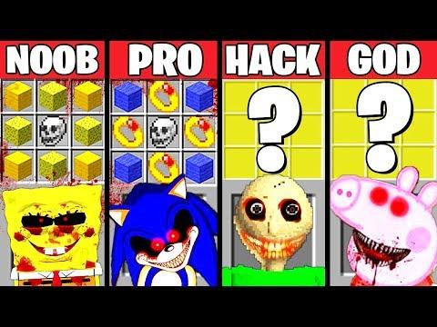 Minecraft Battle: HORROR .EXE CRAFTING CHALLENGE - NOOB vs PRO vs HACKER vs GOD Minecraft Animation