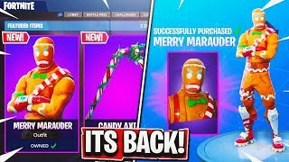 "Gingerbread Man Skin COMING BACK! RAREST Skin ""MERRY MARAUDER"" Returns to Item Shop! (Fortnite)"