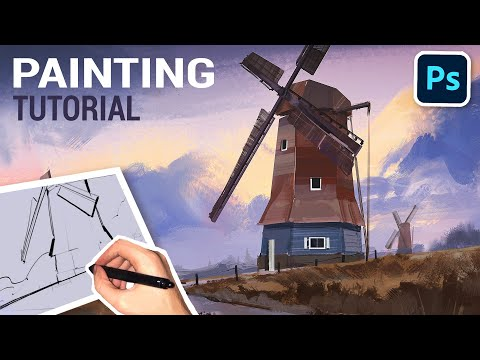 Landscape Digital Painting Process (Tutorial with Commentary)