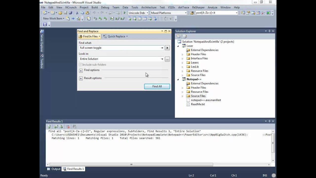 visual studio code search all files