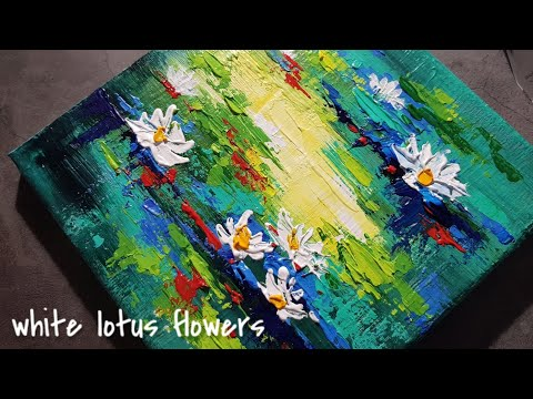 White Lotus Flowers Landscape Acrylic Painting On Canvas Step By Step #12 / Satisfying Demo 물에 핀 백수련