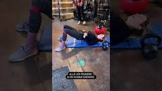 Exercice 7 - Allo les fessiers! 24 répétitions de chaque exercice : - Hip thrust extension - Hip thrust - Kettlebell swing - Killer - Tap - Plank mountain climber Et je ...
