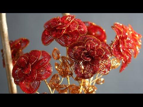 Цветы и деревья из бисера фото
