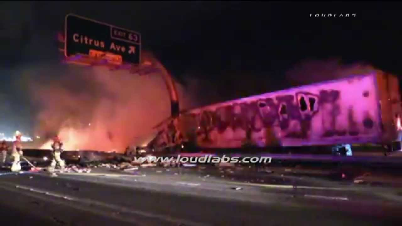 Fatal Big Rig Crash Shuts Down Freeway / Fontana RAW FOOTAGE