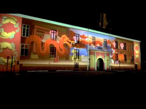 A Flight Around the World. Projection mapping Ljusshow Slottet Linköping