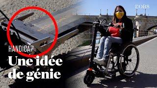 Elle relie son fauteuil roulant à une trottinette électrique avec le