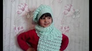 МК. Красивый комплект шарф и берет крючком.Часть 1-я.Шарф