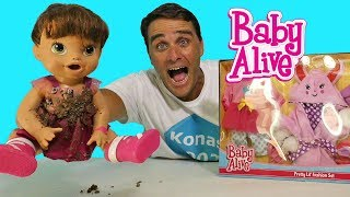 Baby Alive's New Pink Plush Bunny Bath Robe ! Toy Review Konas2002