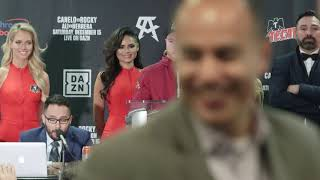 Canelo Alvarez speaks at the post-fight press conference