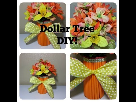Easy Dollar Tree Pencil Vase Floral Arrangment Youtube