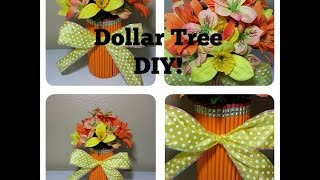 Easy Dollar Tree Diy Pencil Vase Flower Arrangement!