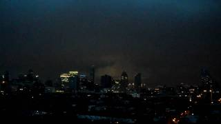 july 24 2010(day to nightfall) tornado warning issued in nyc, view of brooklyn manhattan and queens
