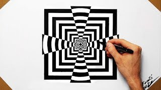Cool Optical Illusion Quadrate - Speed Drawing 2018 ( How To Draw )