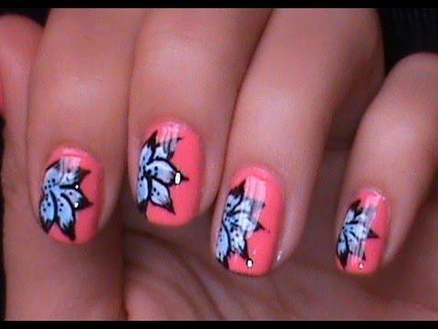 blue flower nail artshort nails  youtube