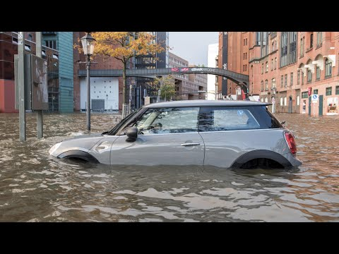Hamburg under water after storms batter Europe