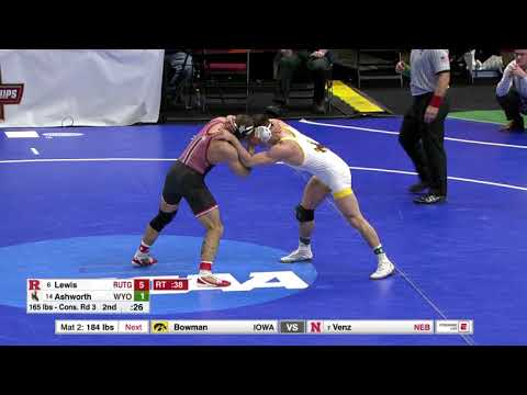 2018 NCAA Wrestling 165lbs: Richie Lewis (Rutgers) Dec Branson Ashworth (Wyoming)