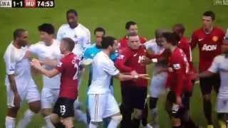 Ashley Williams Kicking a Football at Robin Van Persie's Head (Man United 1-Swansea 1)